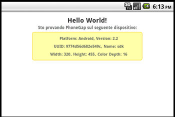 Hello World con PhoneGap