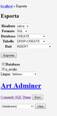 Art Adminer - dump del database