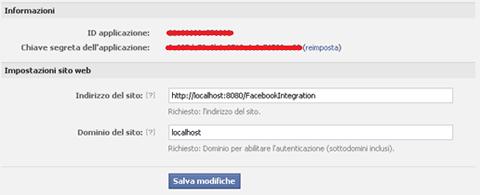 facebook: abilitazione funzioni web per l'applicazione