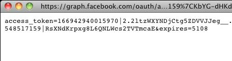 facebook: ricezione dell'access token per l'applicazione