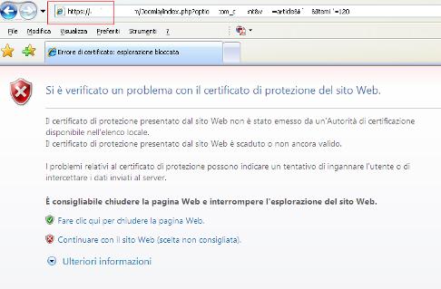 connessione SSL con certificato autogenerato