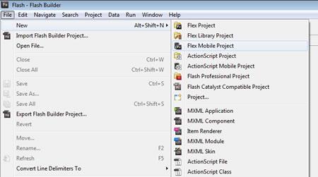 Nuovo progetto in Flash Builder