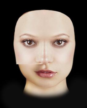 Riflettiamo il volto nella parte destra a sinistra