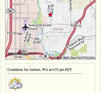 dettagli sul tempo per ogni oggetto place sulla mappa Yahoo!