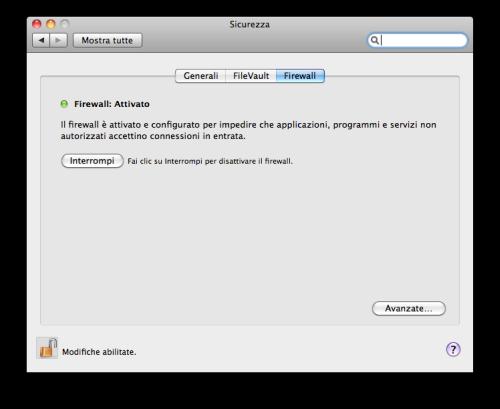 Attivazione Firewall Mac OS X