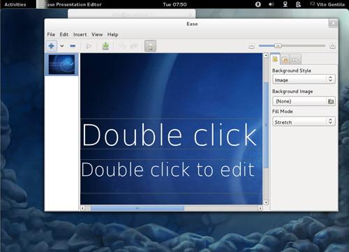 Figura 8: Ease sul desktop di Fedora Verne