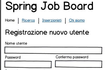 pagina di registrazione dell'applicazione