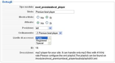 Attiviamo Premium beat player