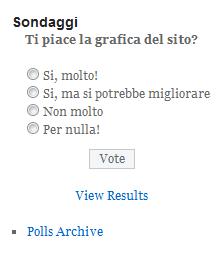 Un sondaggio pubblicato nella sidebar