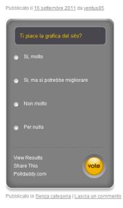 Il sondaggio nel nostro sito creato con il plugin PollDaddy