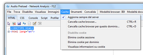 Figura 2: Disabilitare la cache con i Developer Tools F12