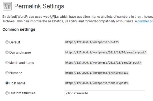 Selezione dell'opzione per i Postname Permalinks