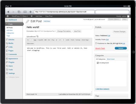 Visualizzazione della Dashboard su iPad