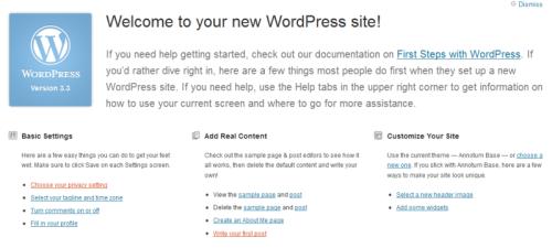 Welcome Screen di WordPress 3.3