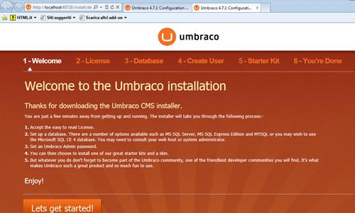 Pagina di installazione di Umbraco