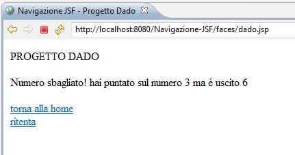 il progetto di esempio Dado: risposta esatta