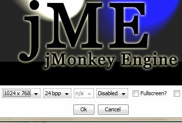 jmonkey: schermata di lancio dell'applicazione