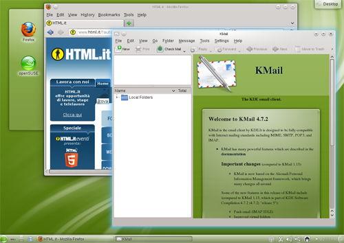 Figura 4: Firefox 7 e KMail su openSUSE 12.1