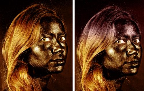 Prima e dopo l'applicazione della luce soffusa