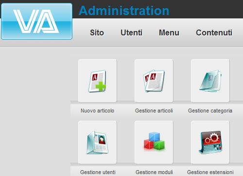Figura 4. VTEM Admin template per Joomla
