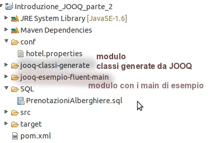 il progetto Eclipse/maven per l'esempio JOOQ