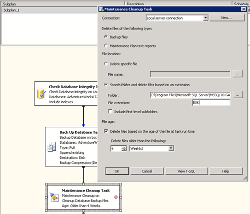 Maintenance Cleanup Task (configurazione)