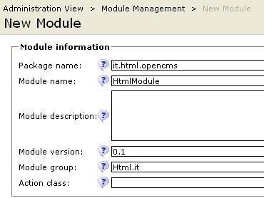 creazione di un nuovo modulo OpenCMS