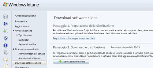 Il download del software Client