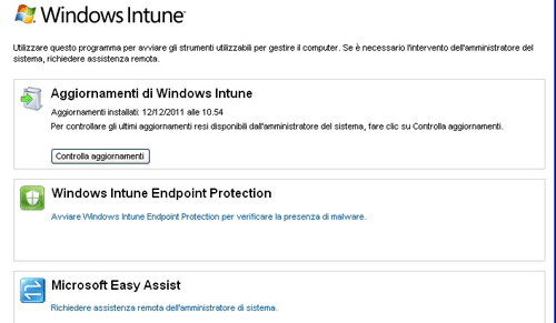 L'interfaccia client di Windows Intune