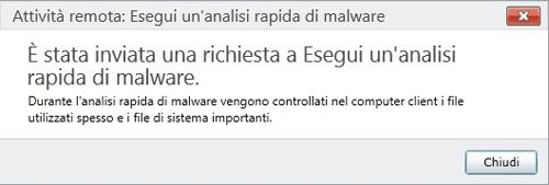 Conferma della richiesta di analisi malware