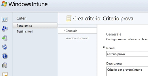 Creazione di un criterio per Windows firewall
