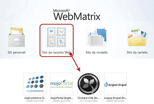 Lanciare Orchard da WebMatrix
