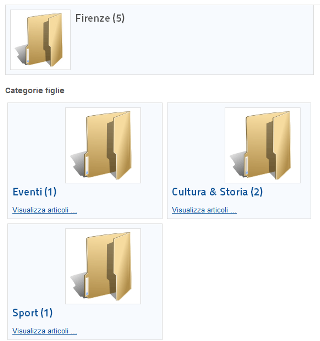 Visualizzazione delle cartelle delle categorie