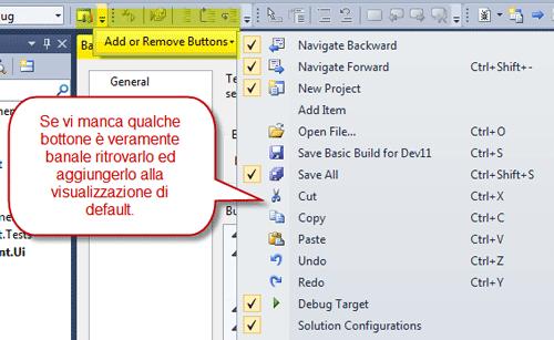 Aggiungere o rimuovere bottoni dalla toolbar semplificata