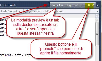 Un singolo click nel solution navigator apre il file in modalità preview.