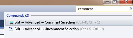 Utilizzare il Comment Selection cercandolo con la quick access