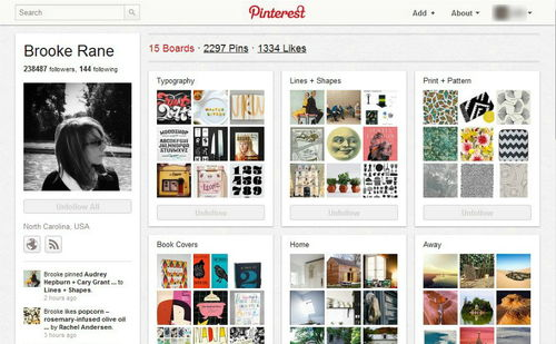 Figura 2: le boards di Pinterest