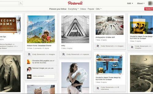 Figura 1: la homepage di Pinterest