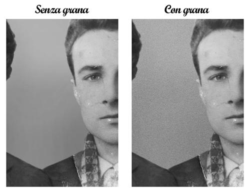 Confronto fondo senza (sinistra) e con (destra) grana