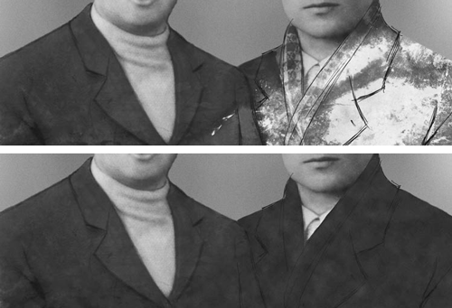 Trama vestiti, prima (sopra) e dopo (sotto)