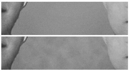 Macchie fondo, prima (sopra) e dopo (sotto)