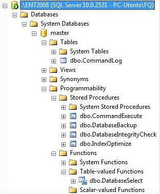 Figura 2: stored procedure, funzione e tabelle