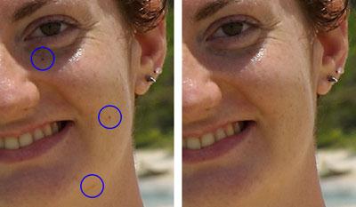 Dettaglio di alcune imperfezioni prima e dopo l'applicazione del Pennello correttivo