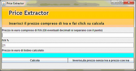 PriceExtractor: una semplice applicazione per il calcolo dell'iva sul prezzo di un prodotto