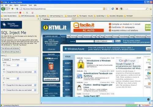 La toolbar di SQL Inject Me