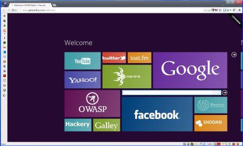 La schermata iniziale del Mantra Security Toolkit