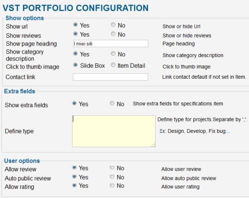 Scheda di configurazione di VPortFolio