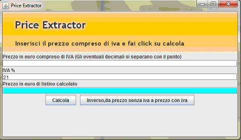 PriceExtractor: l'interfaccia completa