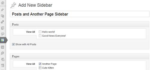 Figura 1. Content Aware Sidebars: creazione di una nuova sidebar