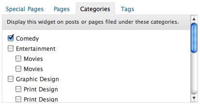 Section Widgets: configurazione delle categorie